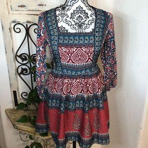 Abercrombie & Fitch colorful print mini boho dress